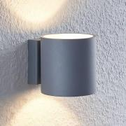 Lindby Mirza vägglampa av aluminium, rund, grå