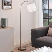 Båg-golvlampa Mateji med vit skärm